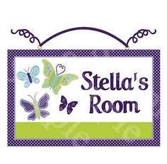 """Personalized """"Beautiful Butterflies/Purple/Green""""  Wood Sign Nursery Decor"""