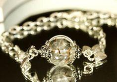 Real Dandelion Bracelet silver wish bracelet Jewelry by RafFinesse
