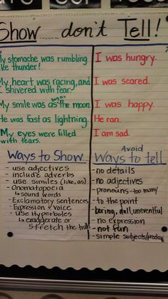 show don't tell anchor chart. Some spelling errors on this chart to check first. Great for introducing descriptive writing Writing Strategies, Writing Lessons, Writing Resources, Teaching Writing, Writing Skills, Essay Writing, Writing Tips, Thesis Writing, Writing Process