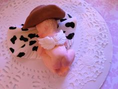 This Angel Cowboy is so sweet. Baby Shower, Birthday, Baptism, Cake Topper, christening