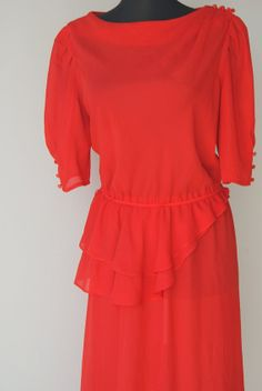 Vintage Fire Engine Red Peplum Dress by hipandvintage on Etsy, $20.00