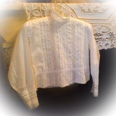 Beautiful White French Blouse with Vintage Broiderie Anglaise Insets. Edwardian Pintucks. Gorgeous as a Display Item. C1910 by fleursenfrance. Explore more products on http://fleursenfrance.etsy.com