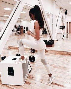Workout outfit in white with gray accents.