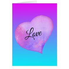 Pink and Blue Watercolor Heart Valentine's Day Card - valentines day gifts diy couples special day