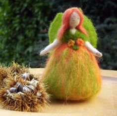 This beautiful small Autumn Fairy looks as if she is about to fly away and explore the countryside in all its Autumn glory! Felt Halloween Ornaments, Christmas Ornaments, Felt Crafts Diy, Autumn Fairy, Halloween Celebration, Nature Table, Fairy Dust, Needle Felting, Heaven