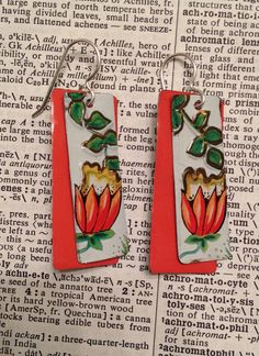 Flower earrings made from a vintage tin