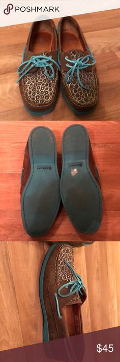 Leather Ariat Shoes Ariat leather loafer style shoes with turquoise accents and print detail. Very cute! These are in great condition and were only worn a few times. Size 9. Ariat Shoes