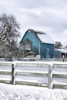 Barns~ How pretty, the blue contrasts against the snow.