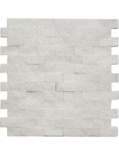 Bianco White Carrara Marble 1x2 Brick Split Face Mosaic Mesh Mounted Tile #bianco_white_carrara_marble #split_face_mosaic