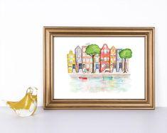 Van Gogh Museum, Amsterdam, Travel Illustration, Frame, Home Decor, Art, Picture Frame, Wall Prints, Art Print