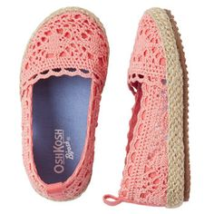 Crocheted Slip-on Shoes for girls.....love this coral color!