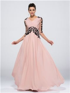 Fashion A-line V-Neck 3/4-Length Sleeves Appliques Zipper-up Long Evening Dress