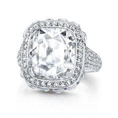 Martin Katz Cushion Rose-Cut Diamond Ring Cushion rose-cut diamond of 4.38 carats; surrounded by 12 French-cut diamonds of 2.87 carats; and micro-set with 302 brilliant round diamonds on the band. Set in platinum. Photo courtesy of Martin Katz
