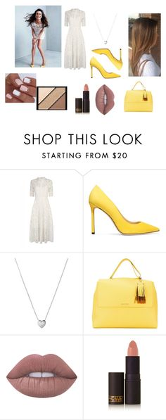 """Lea Michele"" by kirstie04 ❤ liked on Polyvore featuring Temperley London, Jimmy Choo, Links of London, Orciani, Lime Crime, Lipstick Queen, Elizabeth Arden, glee, leamichele and whiteandyellow"