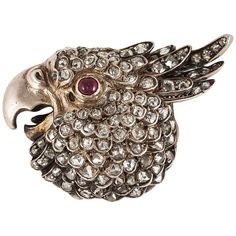 Absolutely Wonderful Victorian Parrot Brooch | From a unique collection of vintage brooches at https://www.1stdibs.com/jewelry/brooches/brooches/