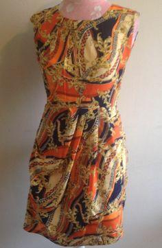 Style By Shaz Orange Blue Gold Scarf Print Sleeveless Silky Knee Length Dress M #StyleByShaz #WigglePencil #Casual