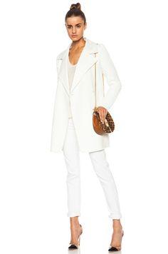 VINCE | Sweater Sleeve Wool-Blend Coat in Winter White