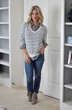 Fall fashion - striped v-neck sweater, gingham button down, jeans and booties