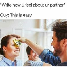 13 - Meme of guy putting post it not on woman's forehead