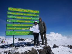 On Thursday 11 October the climbers reached the summit of Mt. Pictured is our Founder Trustee Hilary Massarella with tour guide Jez! Kilimanjaro, Climbers, Tour Guide, Thursday, October, Tours, Events, Memories, Pictures