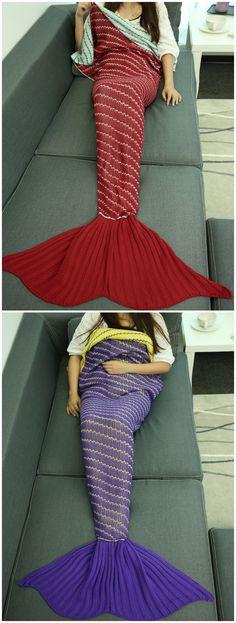 Handmade Crochet Oblique Stripe Sleeping Bag Wrap Mermaid Blanket