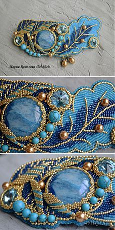 """Azure Moon"" is beautiful Embroidery Bracelets, Bead Embroidery Jewelry, Beaded Embroidery, Beaded Jewelry, Handmade Jewelry, Beaded Bracelets, Beaded Brooch, Bijoux Diy, Beads And Wire"