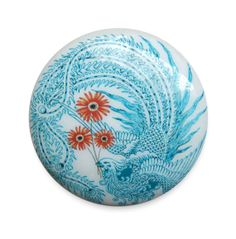 Turquoise Peacock Knob Pull  : Blue Minimalist Bird Orange Daisy Flower Style Wood Hardware for for a Cabinet or Drawer - Knobs by Design