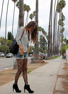 lace tights, cutoffs and booties