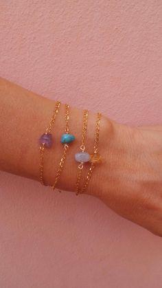 Nugget bracelet. Gemstone bracelet. Amethyst citrine