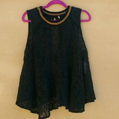 Free People Crochet-Trim Lace Swing Top Sleeveless top with sweater details. There are no closure and has a cutout at the back.  No trades! Free People Tops