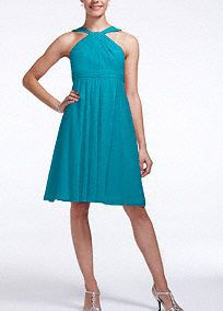 Classic silhouette with a modern twist, this bridesmaid dress is ultimately flattering for any affair!  Sleeveless crinkle chiffon bodice features ultra-feminine y-neckline.  Pleated waist band helps define the silhouette.  Fully lined. Back zip. Imported polyester. Dry clean.  To protect your dress, try our Non Woven Garment Bag.
