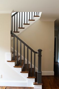 Stair, : Artistic Picture Of Home Interior Decoration Design Ideas Using Light Grey Wood Staircase Banister Including Wooden Half Turn Staircase And Grey Wood Staircase Spindles Painted Stair Railings, Staircase Spindles, Black Stair Railing, Black Stairs, Painted Staircases, Wood Railing, Painted Stairs, Railing Design, Banisters