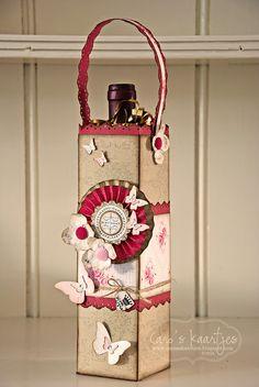 C @ ros cards Wrapped Wine Bottles, Wine Bottle Tags, Bottle Box, Wine Bottle Crafts, Scrapbook Box, Scrapbooking, Christmas Wine Bottles, Creative Box, Wine Craft