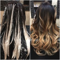 During and after the perfect balayage application. Dark brown to blonde hair. Hair by: Dori Stein Balyage Hair, Brown Hair Balayage, Hair Color Balayage, Blonde Color, Hair Highlights, Dark Brown To Blonde Balayage, Dark Ombre Hair, Black To Blonde Hair, Best Ombre Hair