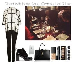 """""""Dinner with Harry, Anne, Gemma, Lou & Lux"""" by jamiescart ❤ liked on Polyvore featuring Topshop, River Island, Cheap Monday, Yves Saint Laurent, NARS Cosmetics, Bobbi Brown Cosmetics, Givenchy, Maison Margiela, harrystyles and louteasdale"""