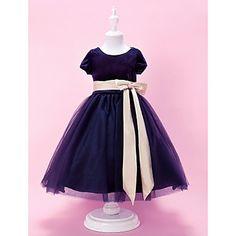 A-line Jewel Tea-length Velvet And Tulle Flower Girl Dress  – GBP £ 69.59