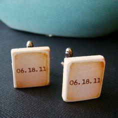 wedding date cufflinks