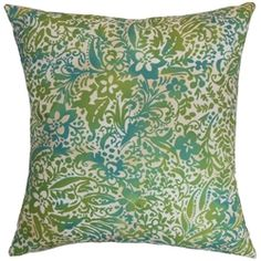 "Add a dose of refreshing elements to your home by decorating this scene-stealing accent pillow. This square pillow features an inventive design with floral motif in bright green and aqua blue hues. This 18"" pillow makes a bold statement when placed against neutral-colored solids. Throw this decor pillow on your sofa, bed or chair for an eclectic vibe. Made from 100% high-quality polyester fabric. $55.00  #pillow  #tosspillow  #homedecor"