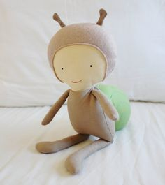Snail Cloth Doll Sewing Pattern PDF Softie Toy Plushie by ElfPop, $10.00