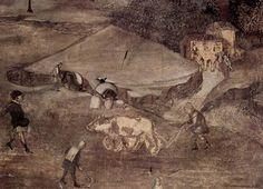 Ambrogio Lorenzetti - Effetti del Cattivo Governo nel contado, dettaglio - affresco - 1338-1339 - Siena - Palazzo Pubblico, Sala dei Nove o Sala della Pace