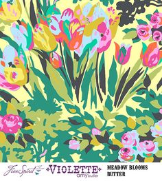 Amy Butler Fabric - Violette - Meadow Blooms - Butter - Cotton - 1 Metre