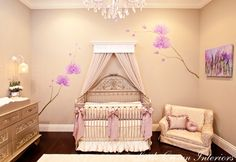 I usually try not to repin nurseries bc I am nowhere near having kids... but this girl's nursery is to die for. The crib is absolutely gorgeous and I LOVE the gold dresser!!!
