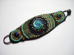 Bead Embroidery Bracelet Cuff Turquoise Teal by PreciousHeartBeads