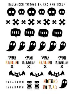 halloween temporary tattoos.  free . printable . template  #raeannkellypins #rakpinparty