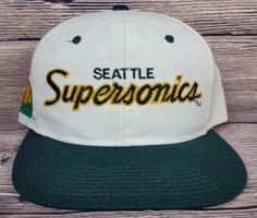 561f69d2f01 Seattle Supersonics Vintage Snapback Sports Specialties Script Hat NBA Wool  Cap Studio Art