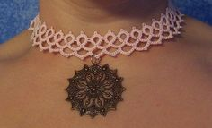 pink choker with charm pink choker lace choker tatted by MamaTats, $25.00