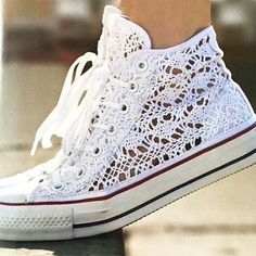 hochzeitsschuhe spruch Details about New Converse Chuck Taylor All Star Hi Canvas Shoes UK 3 to 10 trainers sneakers - Converse En Crochet, Crochet Shoes, Crochet Lace, Crochet Summer, Converse All Star, Converse Sneakers, White Converse, Lace Converse Shoes, Converse Classic