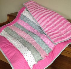 Rag Quilt baby girl quilt minky quilt Crib quilt by ohSEWcuddly