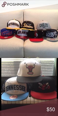 10 Mitchell & Ness/New Era Snapbacks (Lot of 10) 10 Caps • All Gently Worn Vintage Accessories Hats