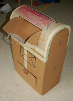 Mailbox made from cardboard.